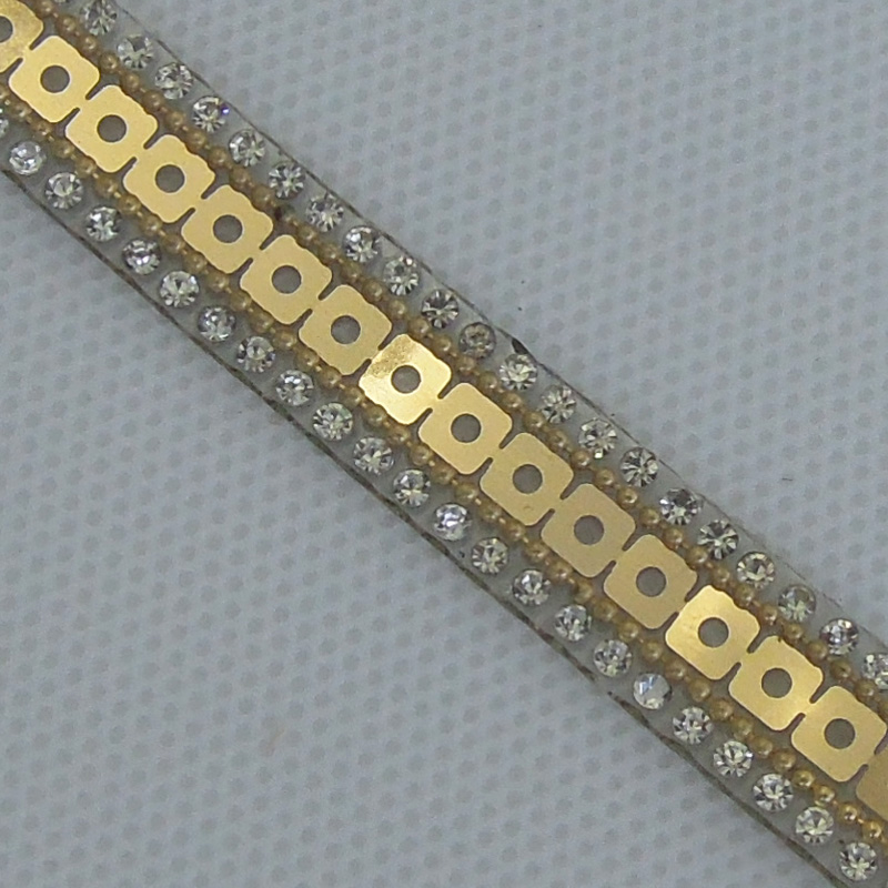 hot melt 1cm rhinestone and brass chain sequins strip wholesale