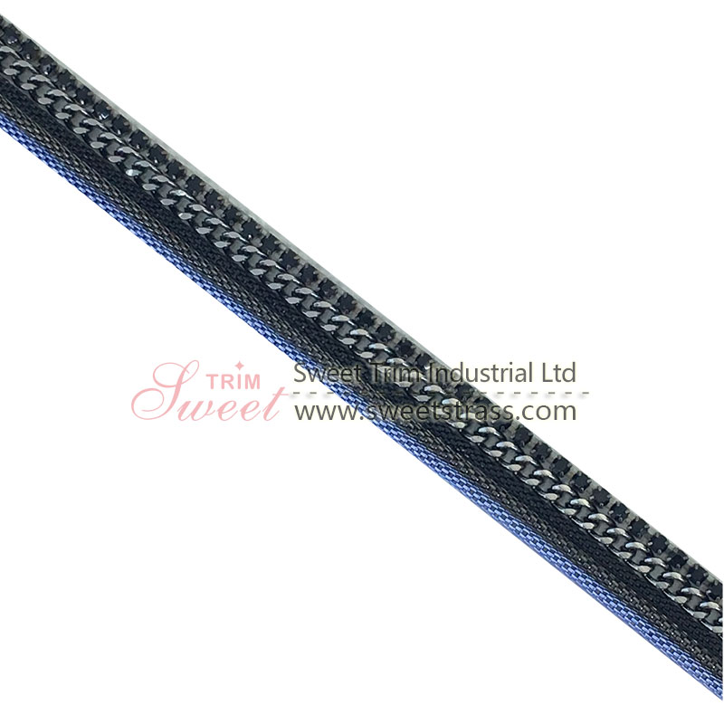 high quality gunmetal color  metal chain band with glue at back