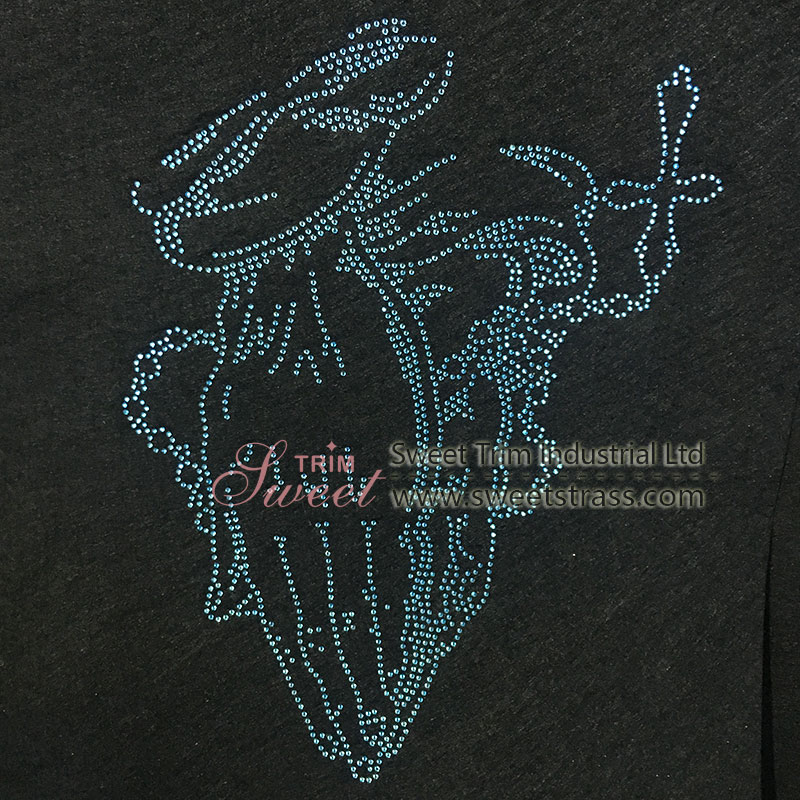 hot fix rhinestone motif for t-shirt decoration 4