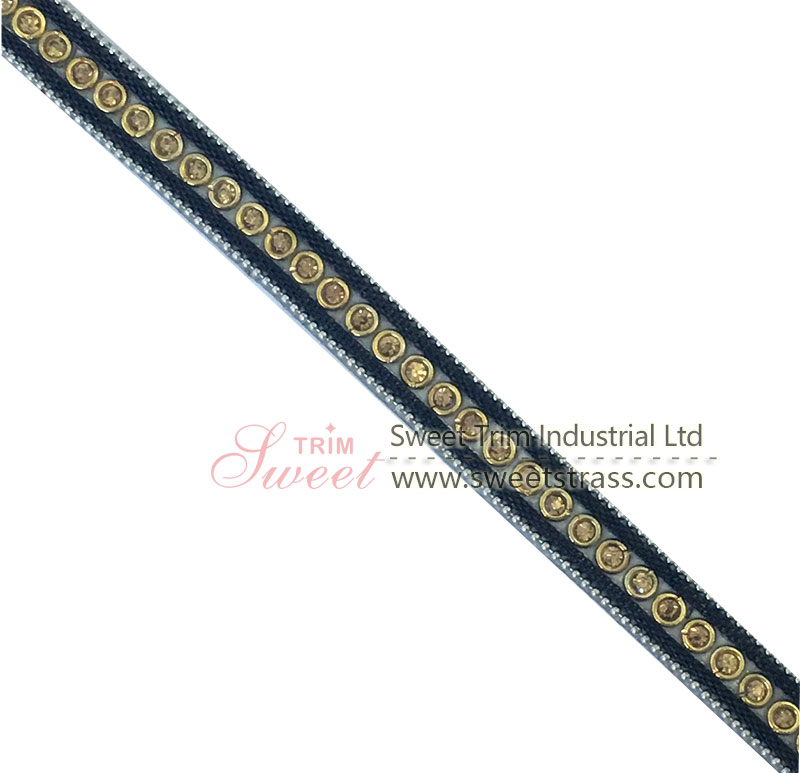 New Design Rhinestone Banding Weaving Strips with Studs Bags Garment Shoes Trim Watch Webbing Women F