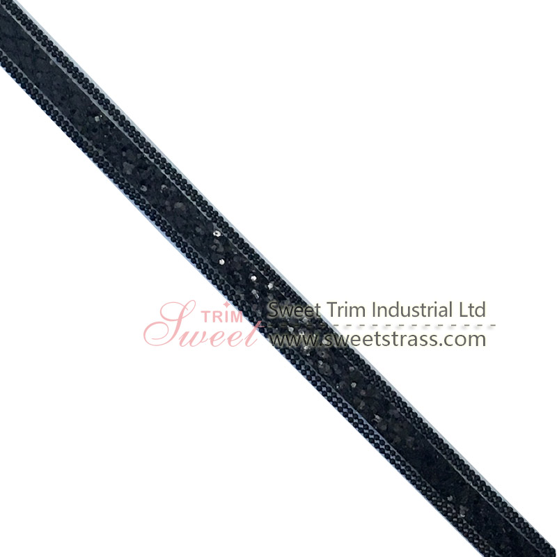 lovely Iron on Custom Decorative black Color Hotfix Glass Bead Tape Rhinestone Applique Trim