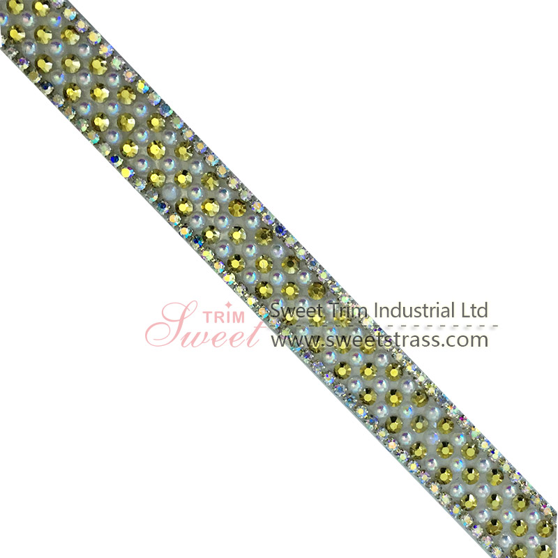 Wholesale Iron on Decorative Hotfix Glass Little Round Bead Trim Rhinestone Applique Tape