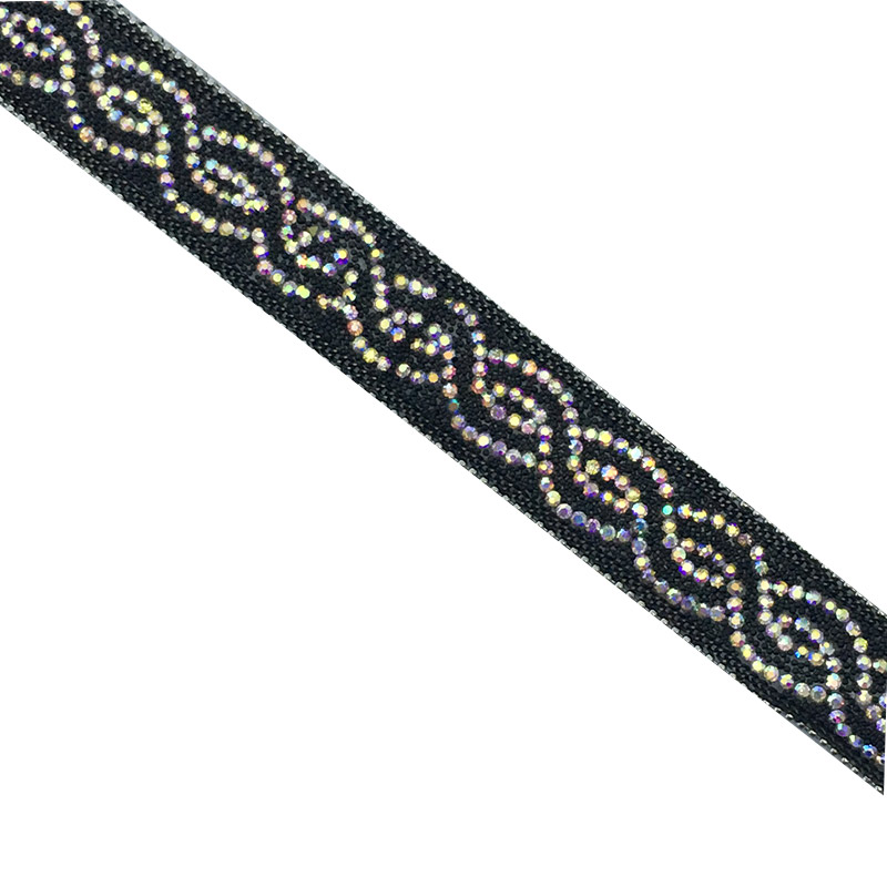 Crystal rhinestone trim Chain rhinestone  trim Black wholesell strass