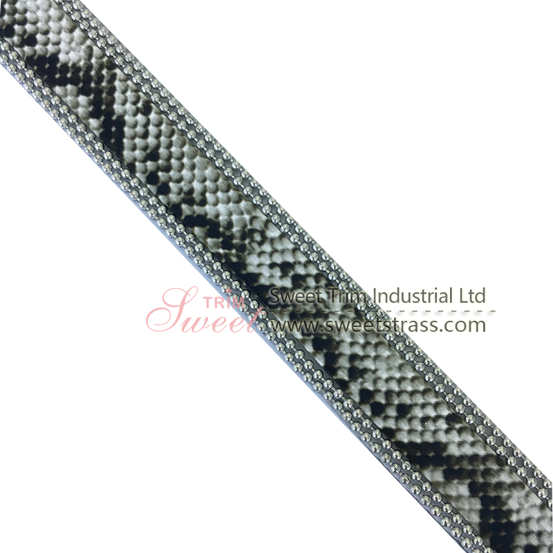 Snake skin design Iron on Crystal Strass Sheet Banding Hotfix Rhinestone Ribbon