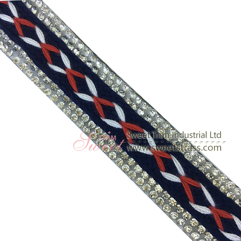 embroidery ribbon customed made Hotfix Rhinestone Ribbon for Clothes