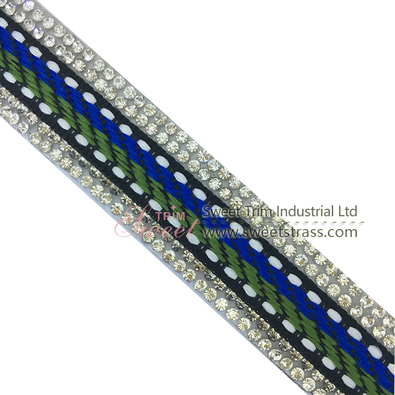 Beaded Trim Stretch Rhinestone Banding Tape with glue back
