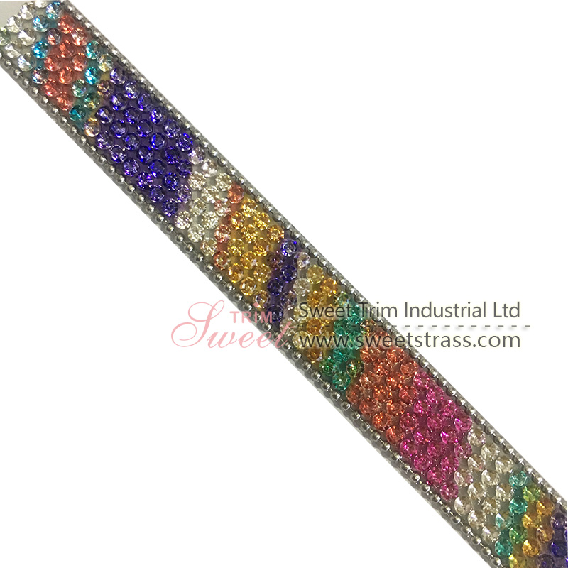 new arrival design colorful hot fix trimming by yard