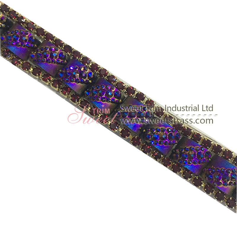 purple ribbon 1cm rhinestone stripes for clothes and shoes