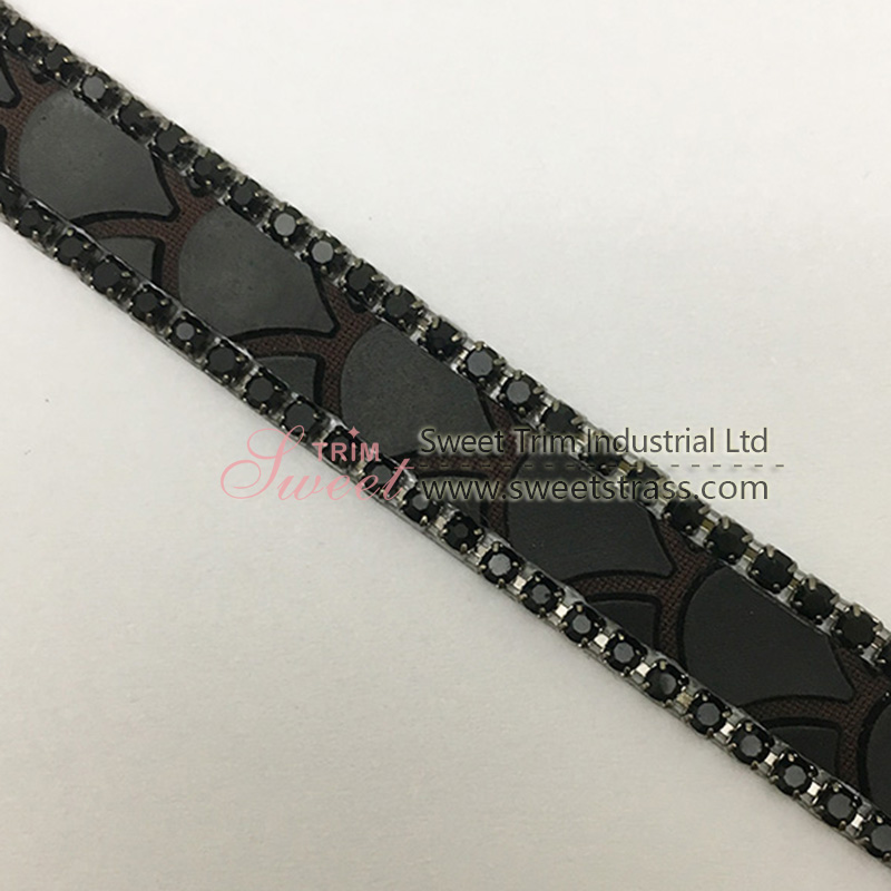 Hot melt glue black diamond mesh beautiful appliques hot fix rhinestone sheet for Shoes Accessories