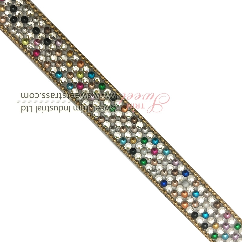 wholsale hot fix ribbon with colorful crystals