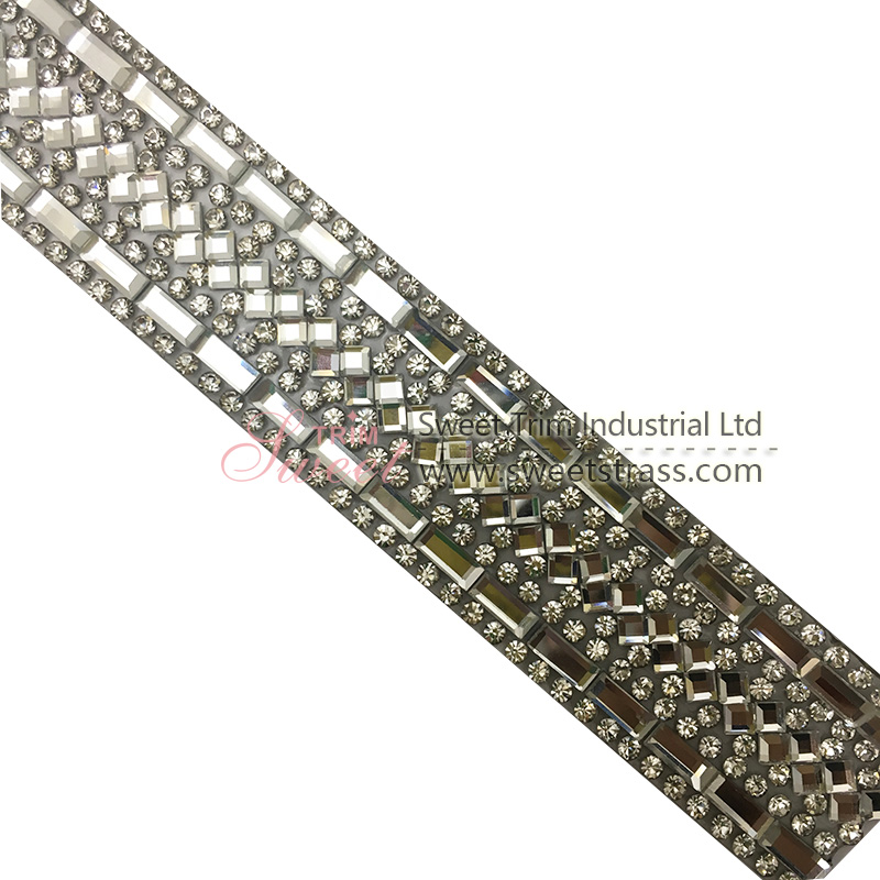 shiny quality crystal hot fix ribbon for bags
