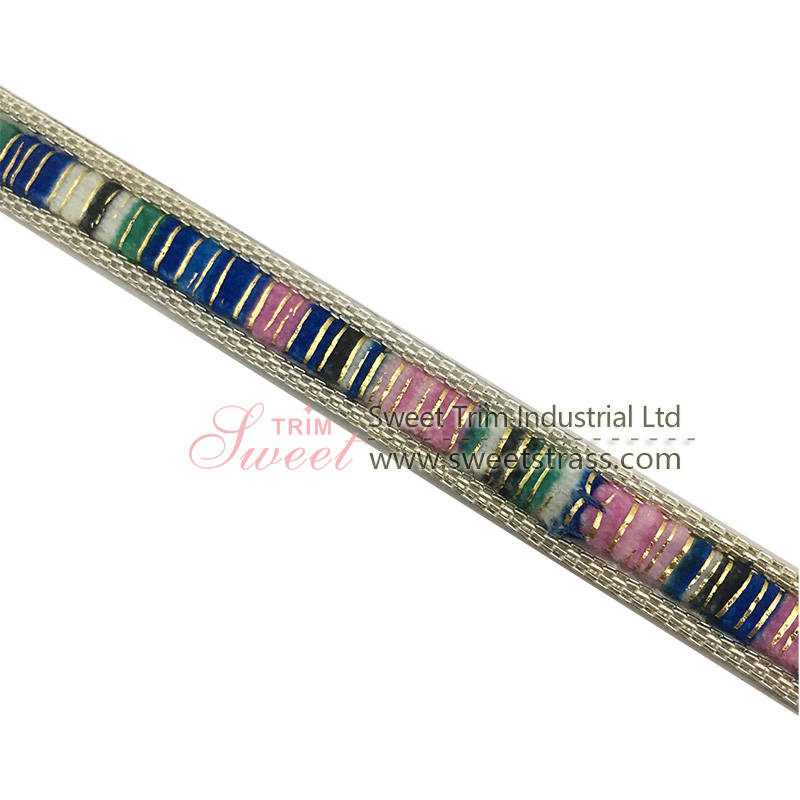 3.8cm width iron on rhinestone lace trim for clothing and shoes
